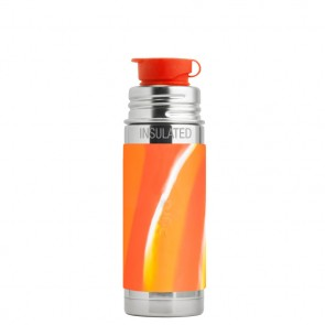 9oz/260ml Insulated  Sport Bottle w/Orange Swirl Sleeve