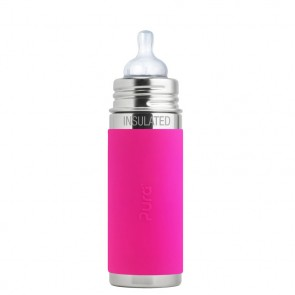9oz/260ml Insulated Infant Bottle w/Pink Sleeve
