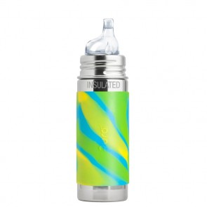 9oz/260ml Insulated Sippy Bottle w/Aqua Swirl Sleeve